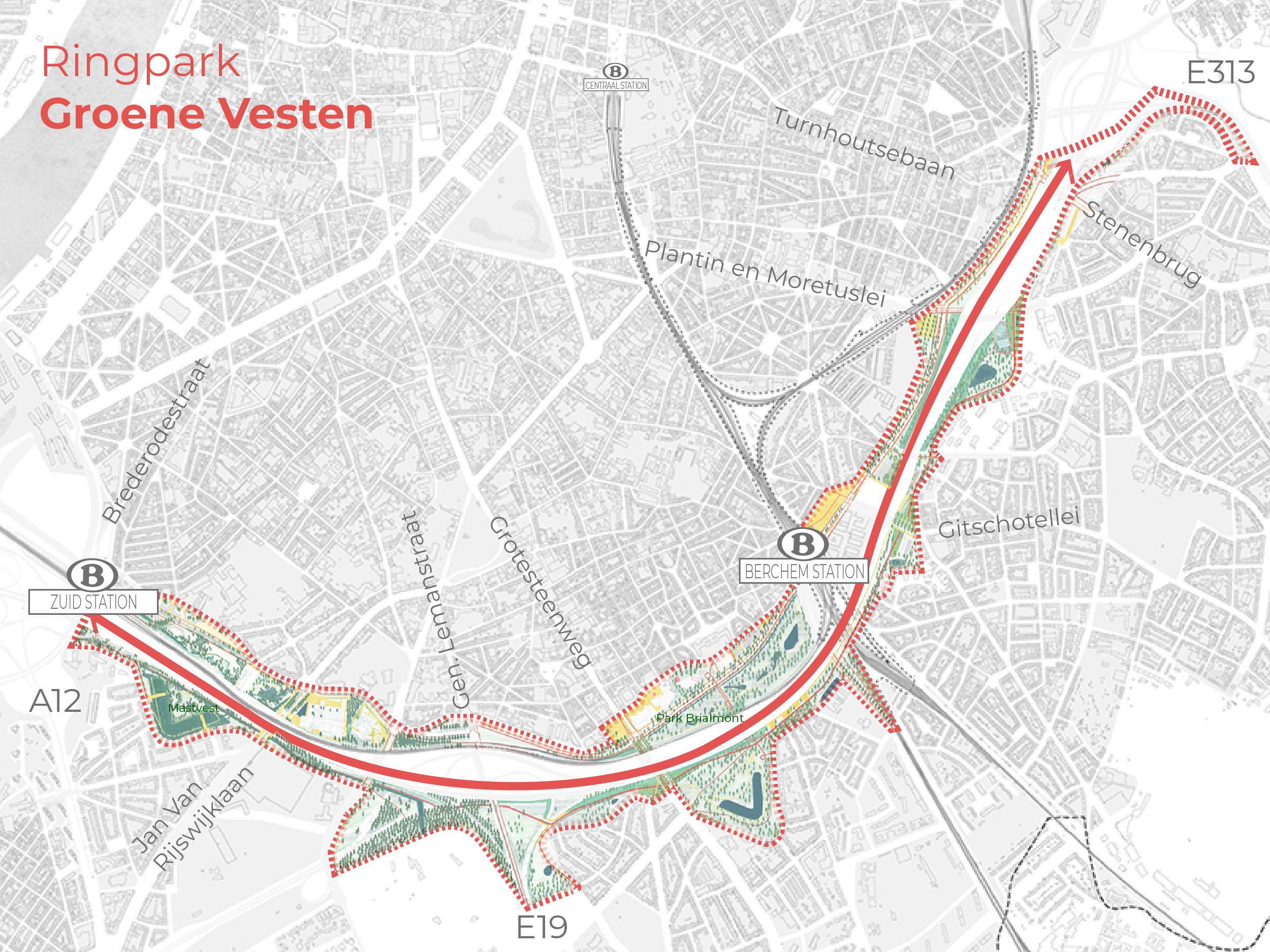 Het volledige gebied van Ringpark Groene Vesten aangeduid op kaart, het gebied loopt van aan de Kolonel Silvertonstraat in het zuiden tot aan het Rivierenhof in het oosten, en dit aan beide kanten van de Ring.