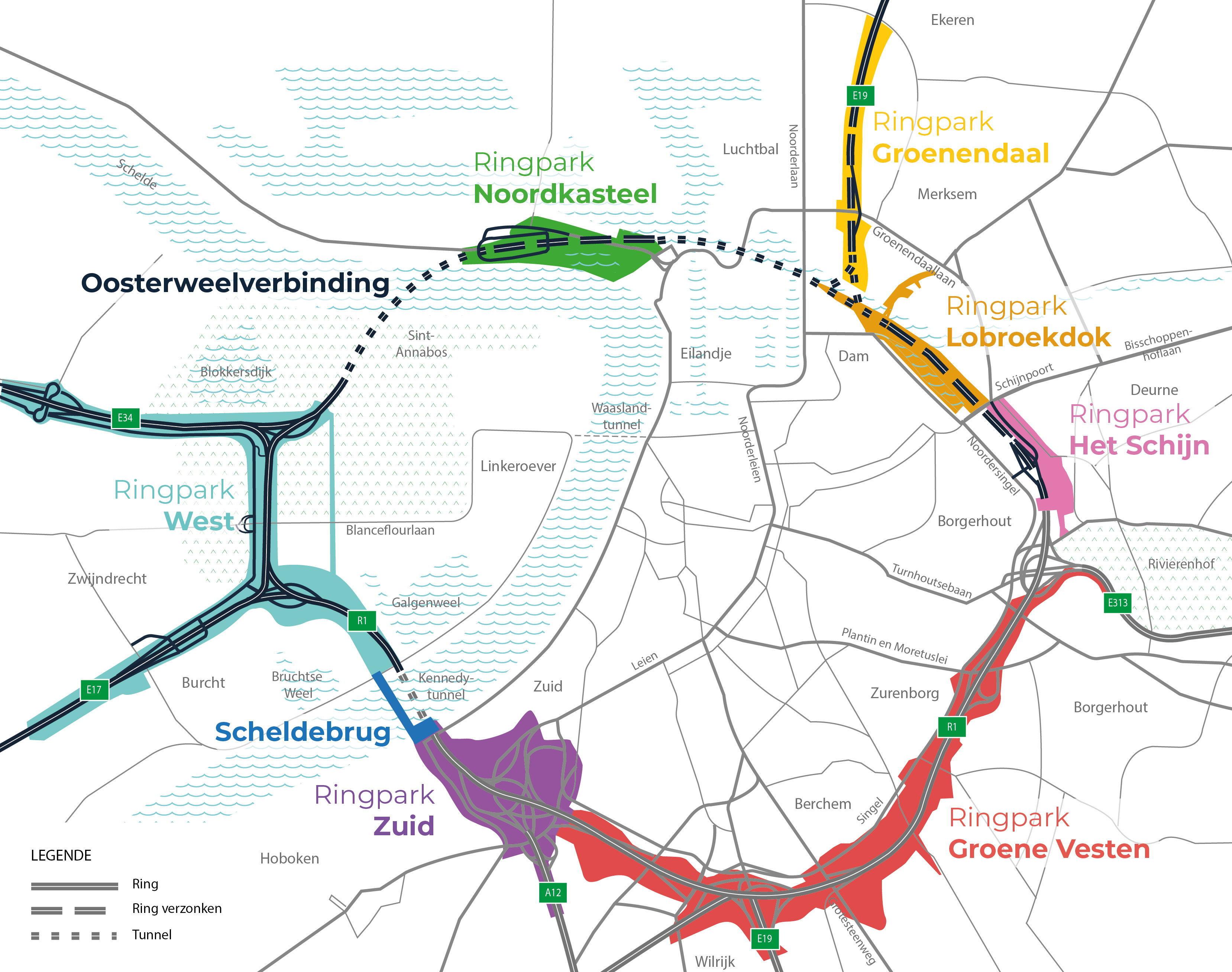 De Grote Verbinding brengt de Oosterweelverbinding samen met de 7 Ringparken en de Scheldebrug in één geheel, dat de komende jaren verder wordt uitgetekend en gebouwd.