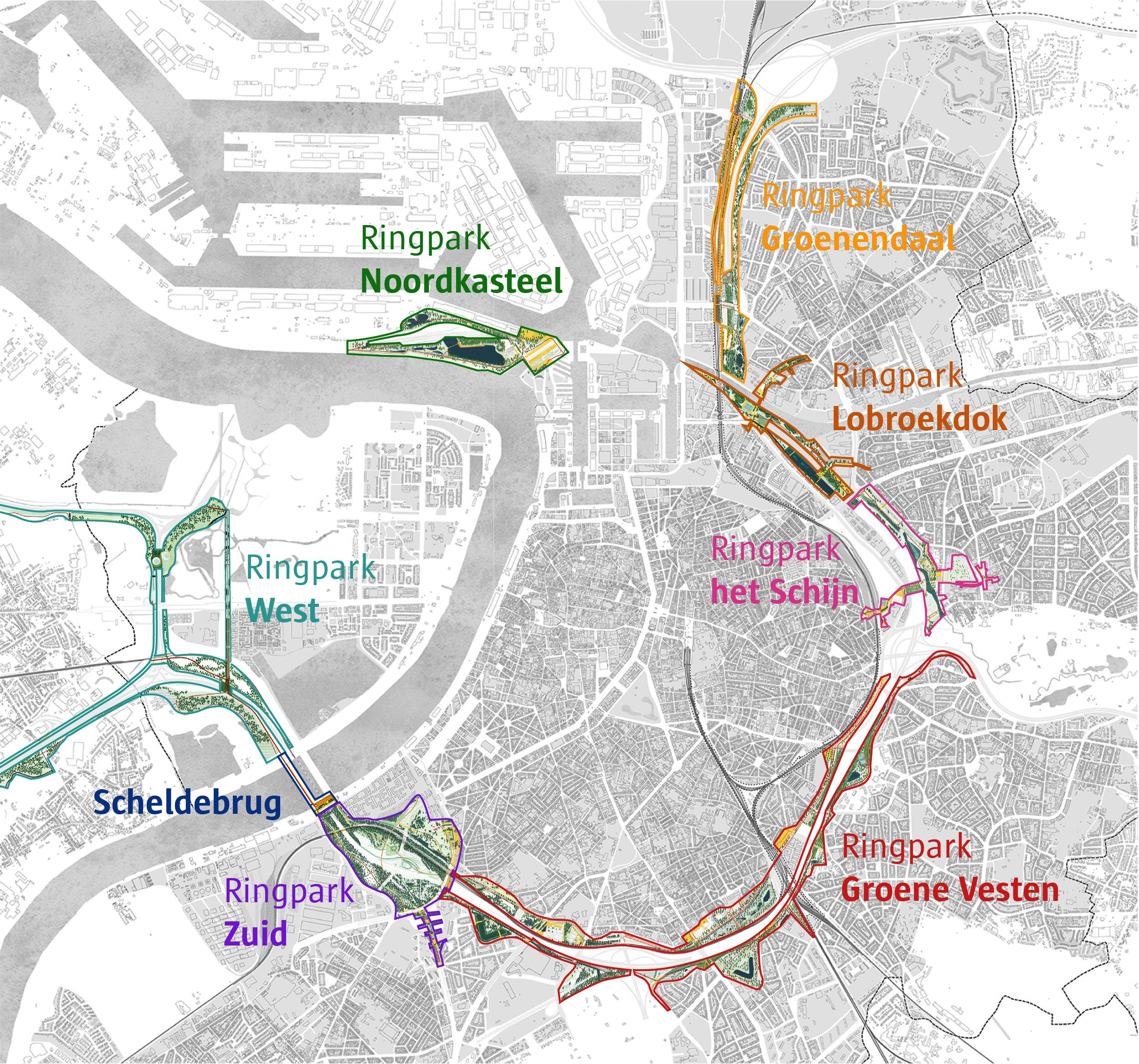 Overzicht van de zeven Ringparken en de Scheldebrug