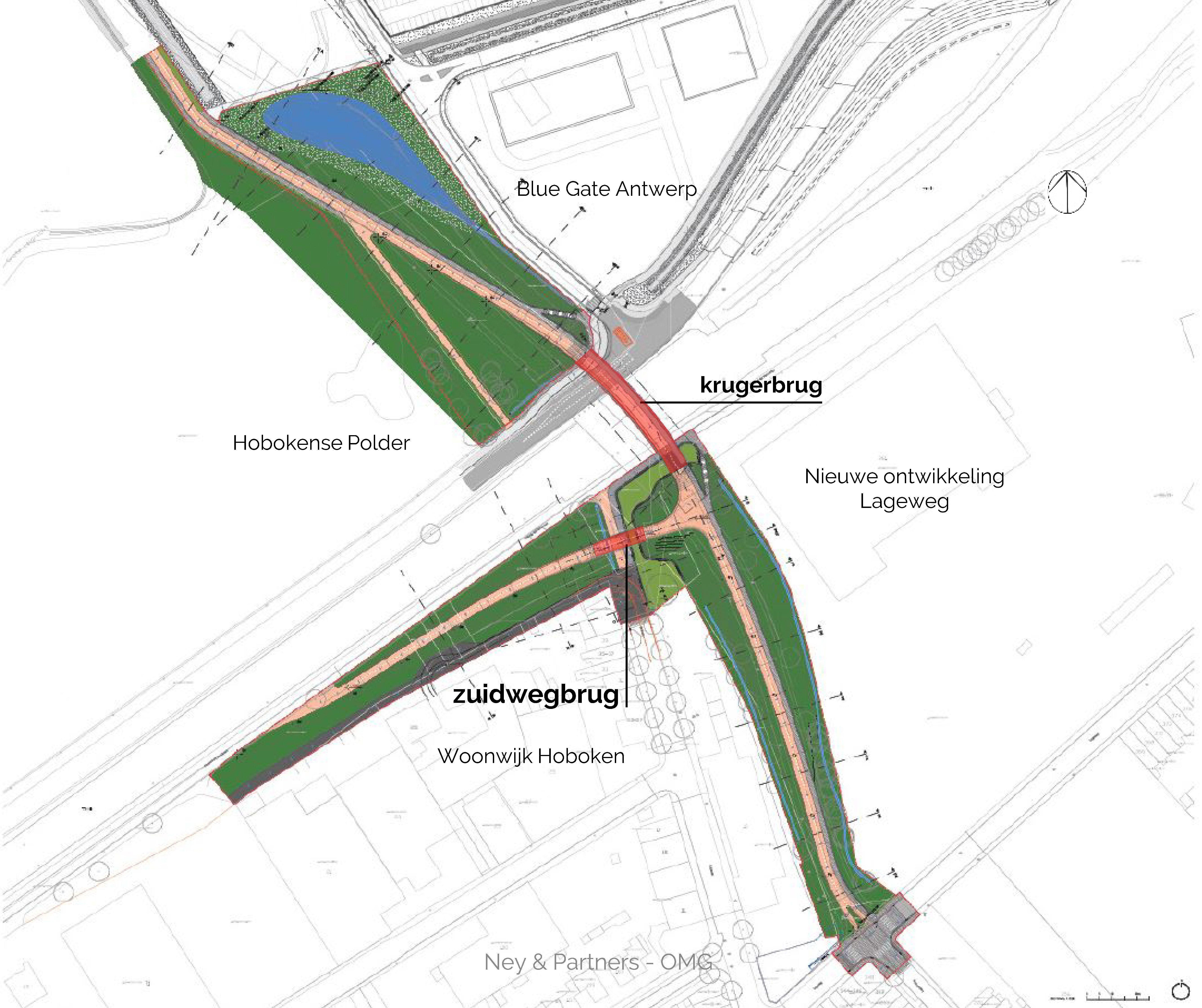 Grondplan van de nieuwe Krugerbrug en Zuidwegbrug.