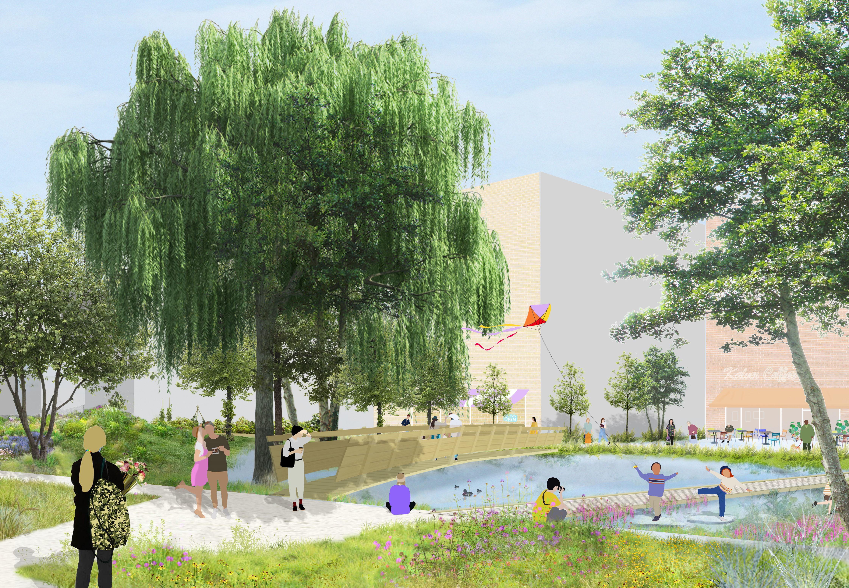 Een toekomstbeeld van het Kalverpad in de Slachthuiswijk. Hier staat avontuurlijk spelen in de stadsnatuur centraal in een groene ruimte met mogelijkheden voor samentuinen.