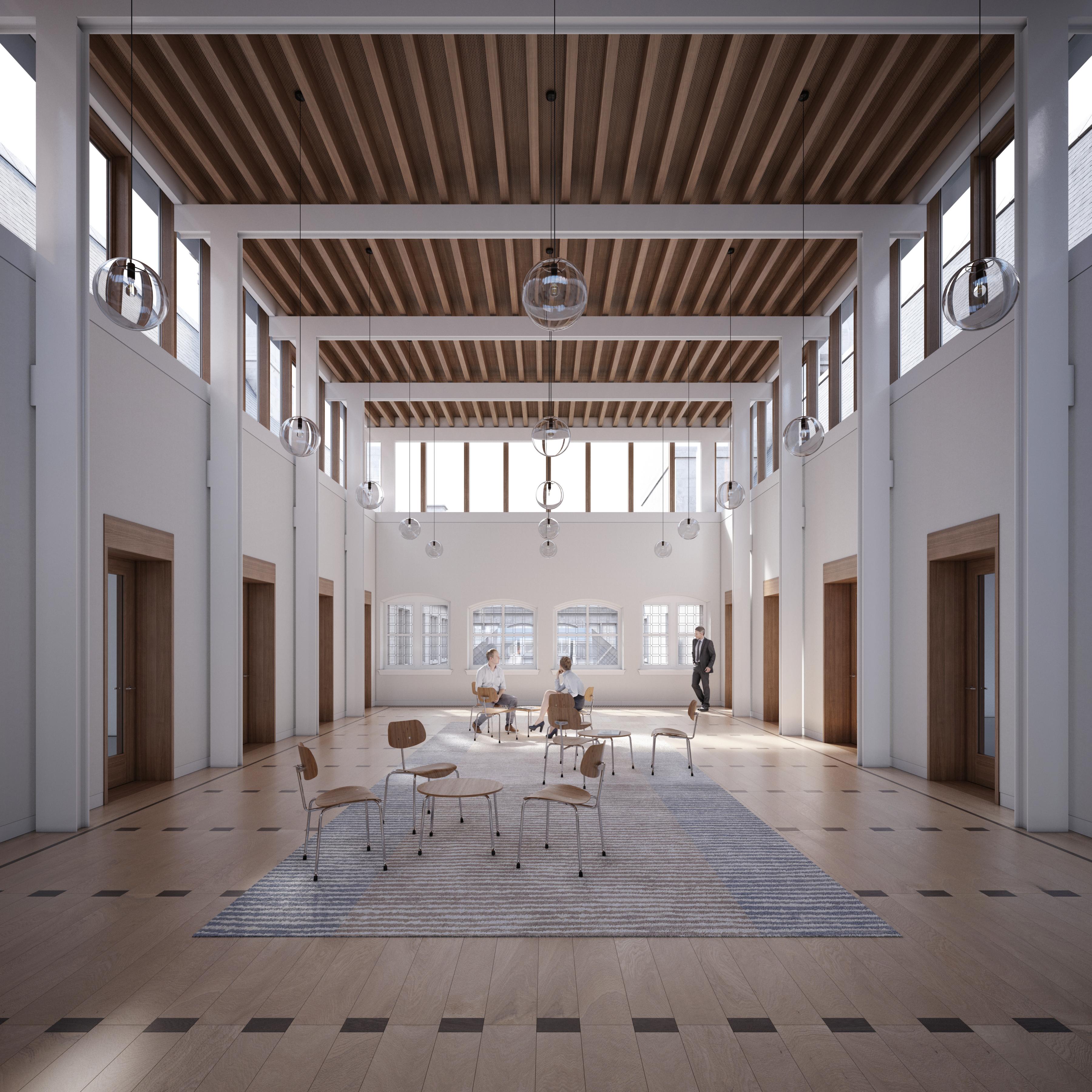 Een simulatiebeeld van de dubbelhoge ruimtes op de tweede verdieping van het stadhuis