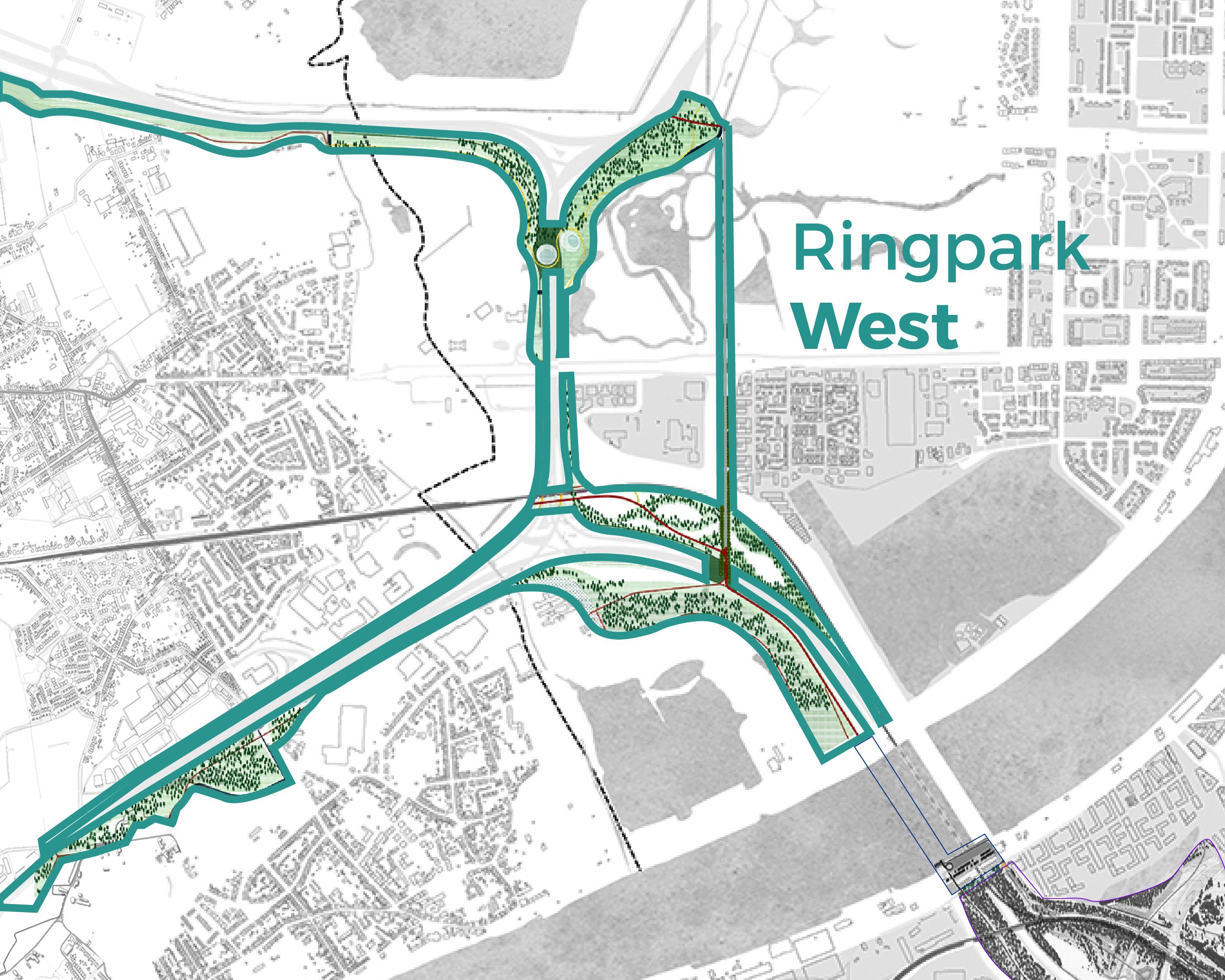 Ringpark West combineert de gekozen ringprojecten 'Stille Bermen Zwijndrecht en Linkeroever' en een gedeelte van 'Voltooien fietsnetwerk'