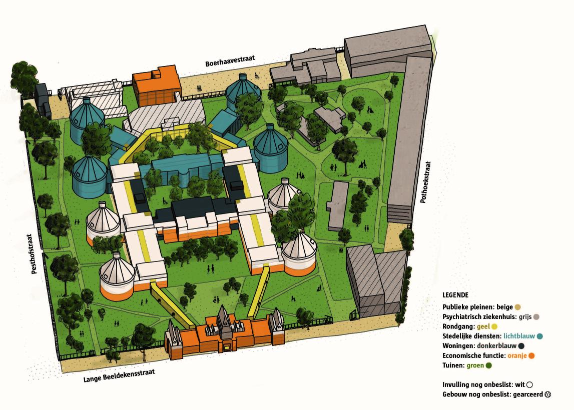 Een illustratie van de Stuivenbergsite vanuit de lucht met daarop aangeduid waar woningen kunnen komen, waar stedelijke functies, economische invullingen, ...