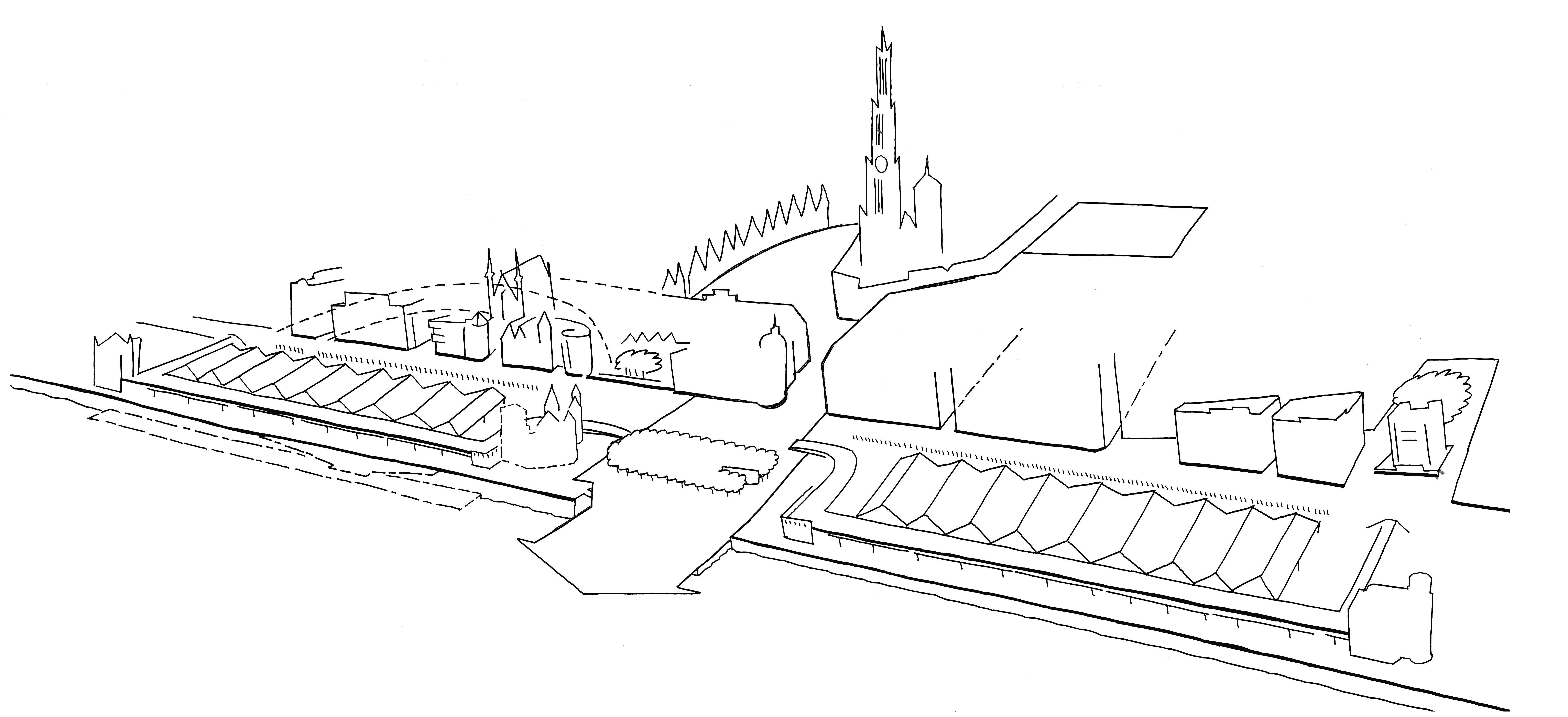 Illustratie centraal deel Scheldekaaien