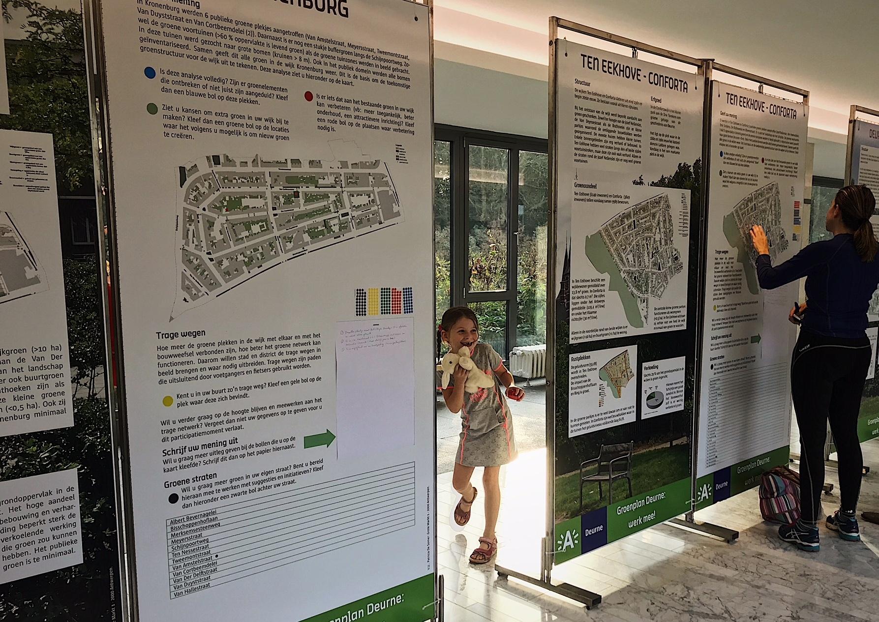 Sfeerbeeld van de info- en participatietentoonstelling in de beginfase van de opmaak van het Groenplan Deurne, in oktober 2017.
