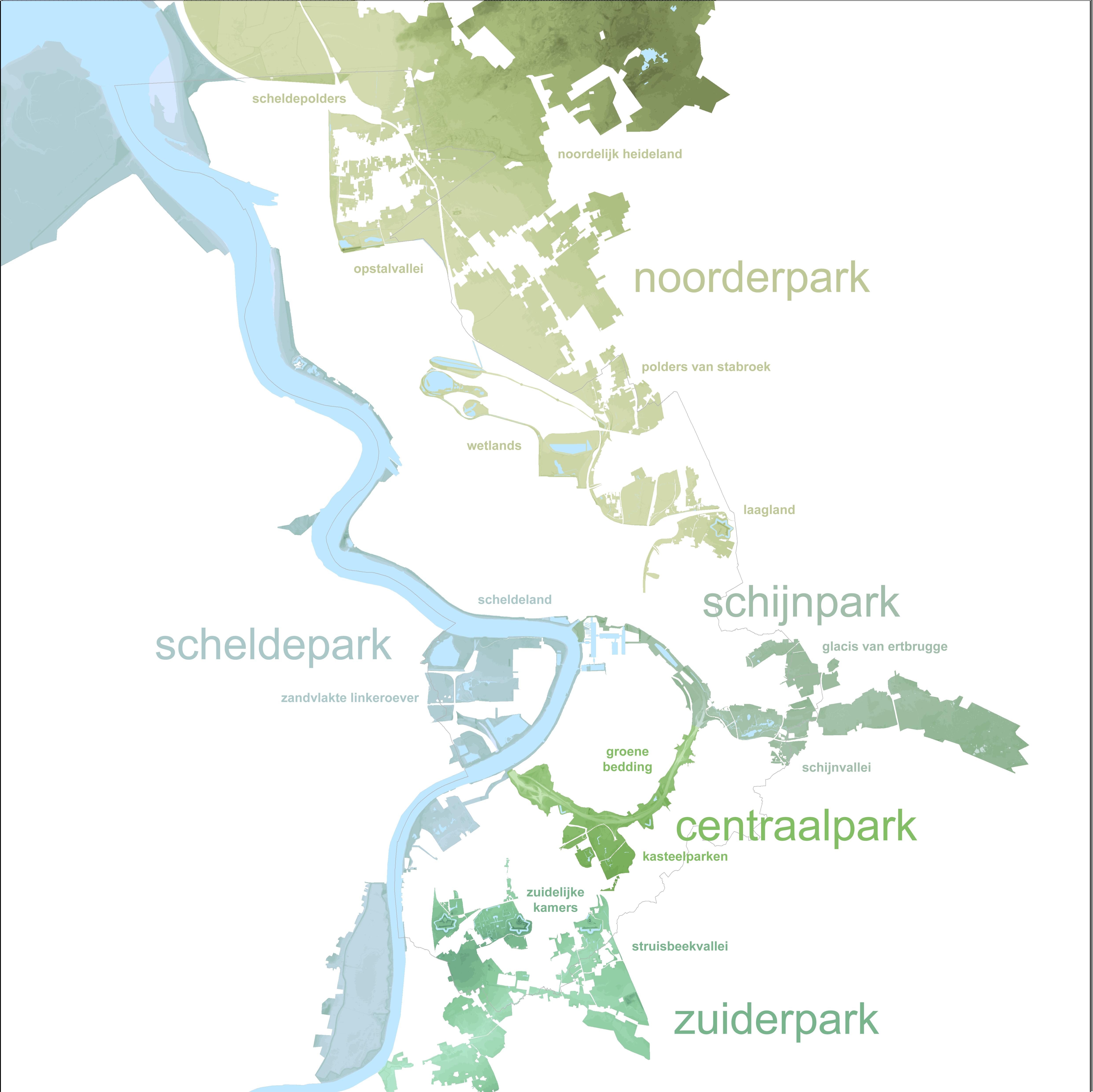 overzicht van de 5 groenstructuren en de 14 groene landschappen.